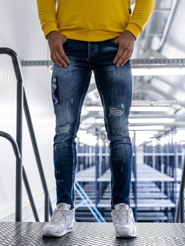 Мужские джинсовые брюки синие Bolf 1801