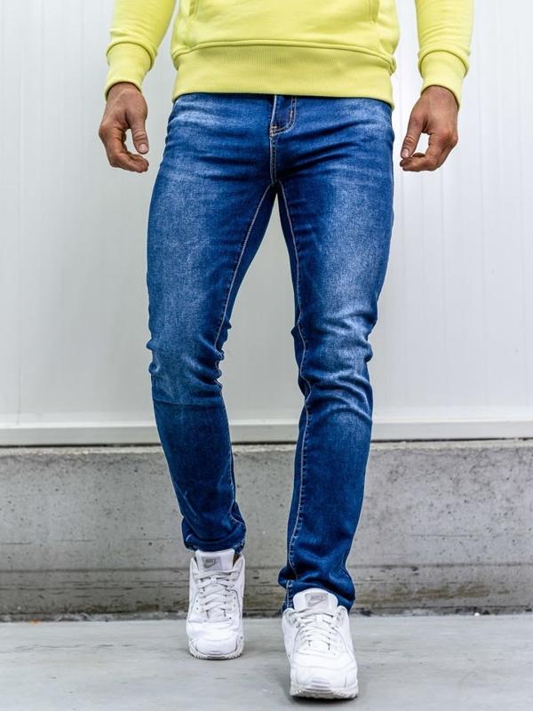 Мужские  джинсовые брюки с ремнем straight leg темно-синие Bolf KA1767