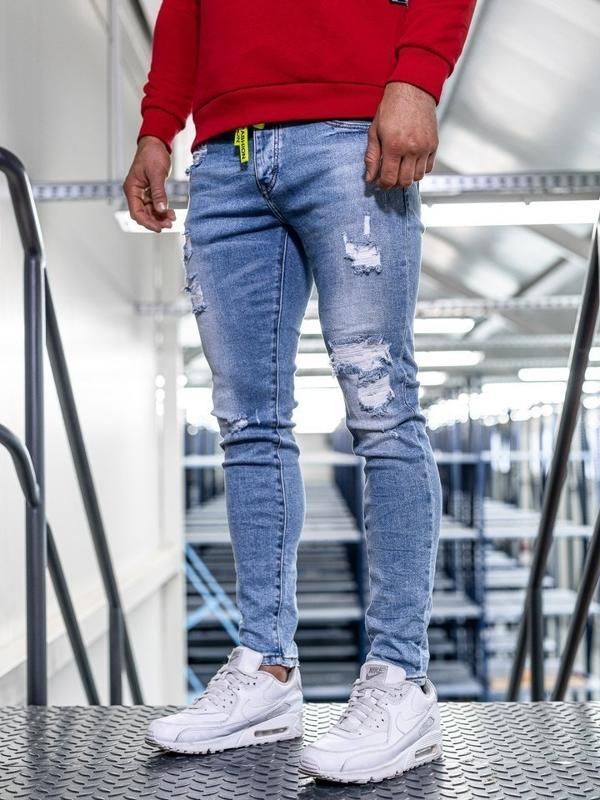 Мужские  джинсовые брюки skinny fit темно-синие Bolf KA1726