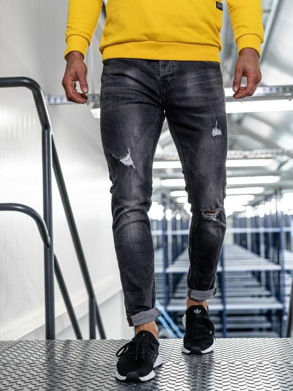 Мужские  джинсовые брюки slim fit черные Bolf KX313