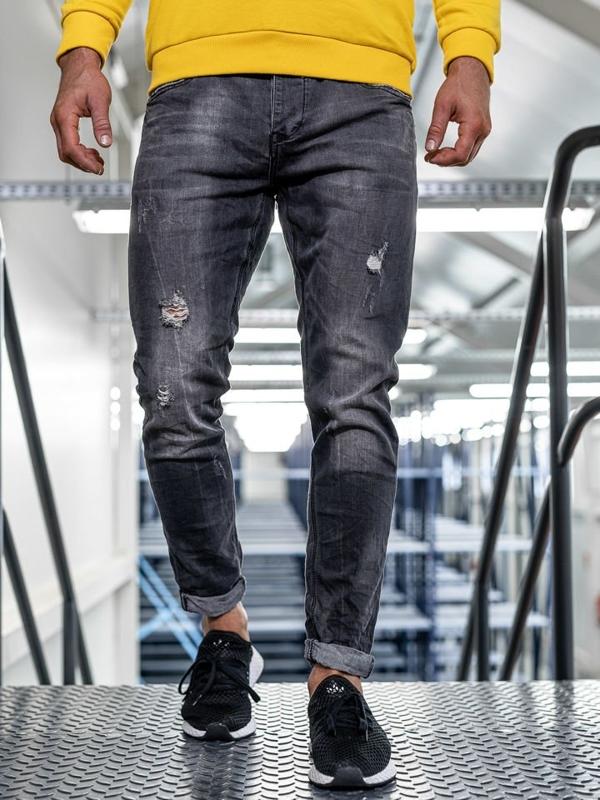 Мужские  джинсовые брюки straight leg черные Bolf KX317