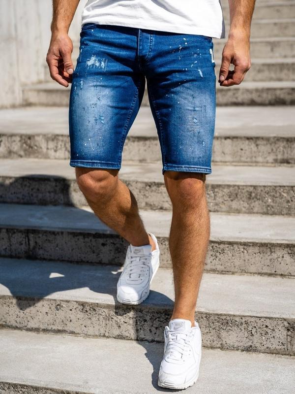 Мужские джинсовые шорты темно-синие Bolf 3000