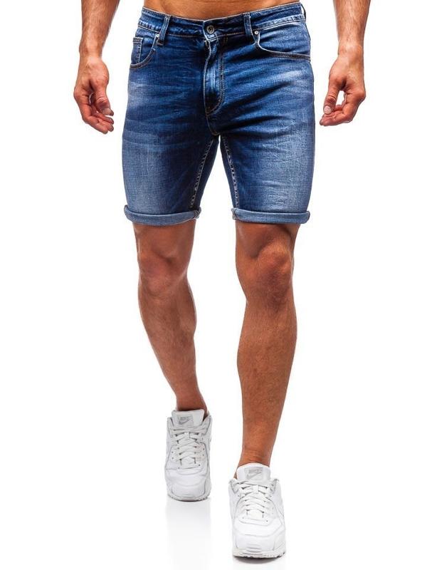 Мужские джинсовые шорты темно-синие Bolf T573