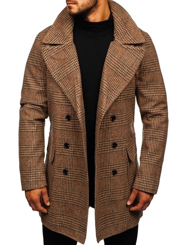 Мужское зимнее пальто коричневое Bolf 1117