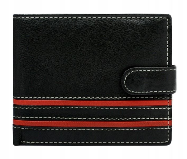 Мужской кожаный кошелек красный 600
