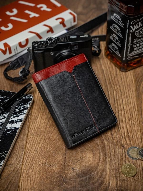Мужской кожаный кошелек черно-красный 2052