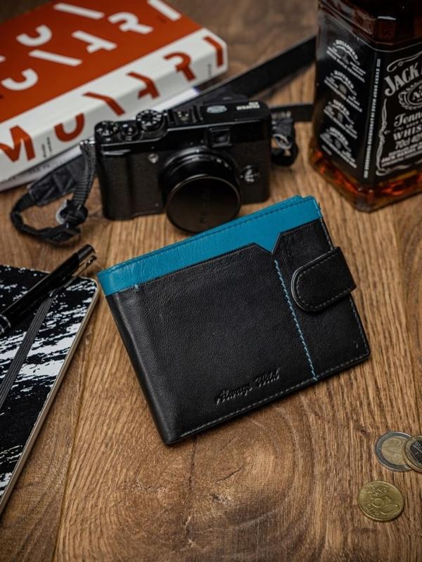 Мужской кожаный кошелек черно-синий 2054