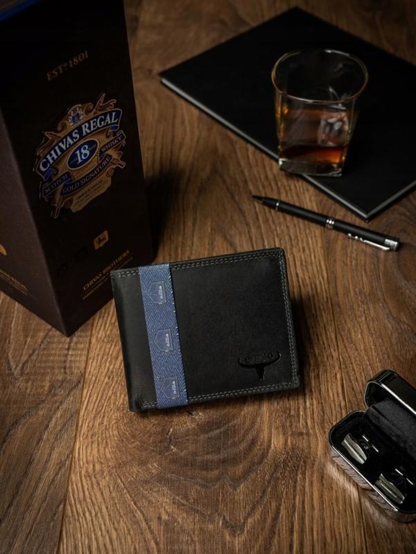 Мужской кожаный кошелек черный 2223