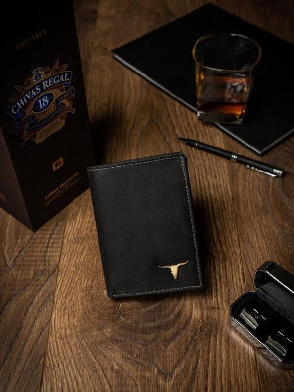Мужской кожаный кошелек черный 498