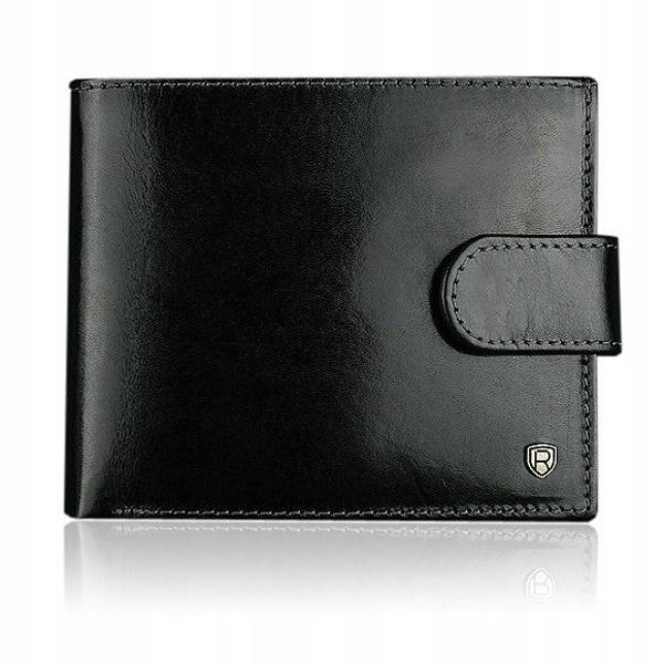 Мужской кожаный кошелек черный 907
