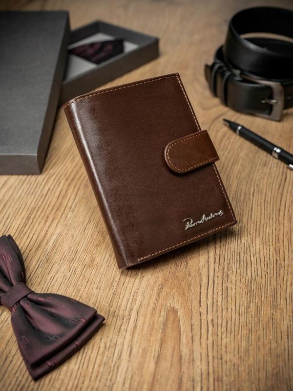 Мужской кошелек кожаный коричневый 1677