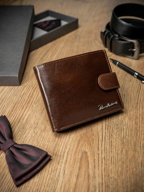 Мужской кошелек кожаный коричневый 1685
