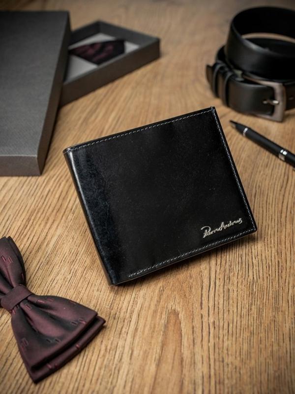 Мужской кошелек кожаный черный 1690