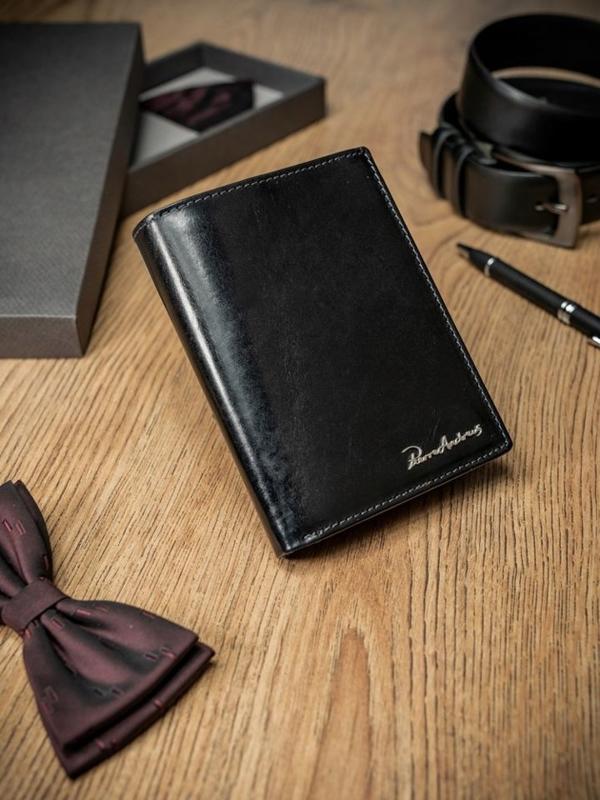 Мужской кошелек кожаный черный 1692