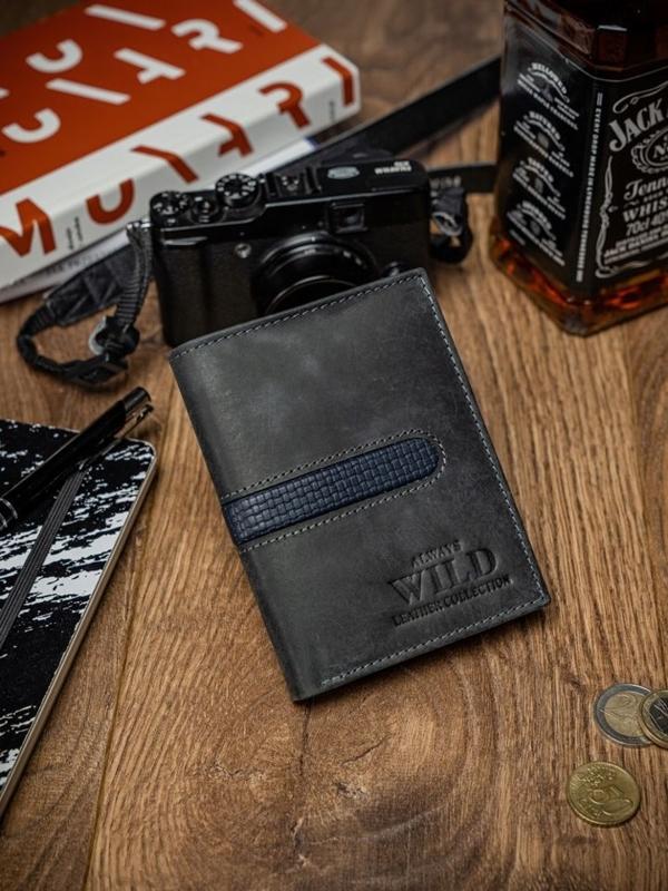 Мужской кошелек кожаный черный 2034