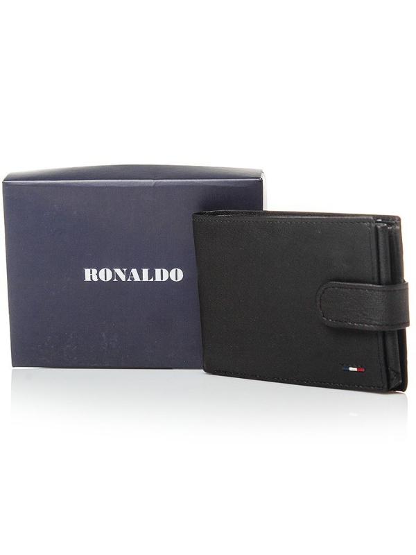 Мужской кошелек кожаный черный 3076