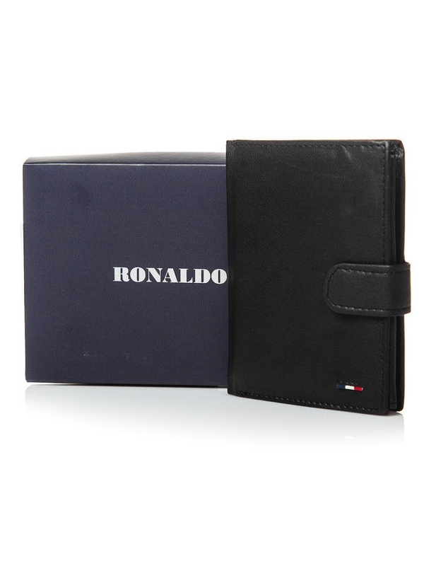 Мужской кошелек кожаный черный 3078