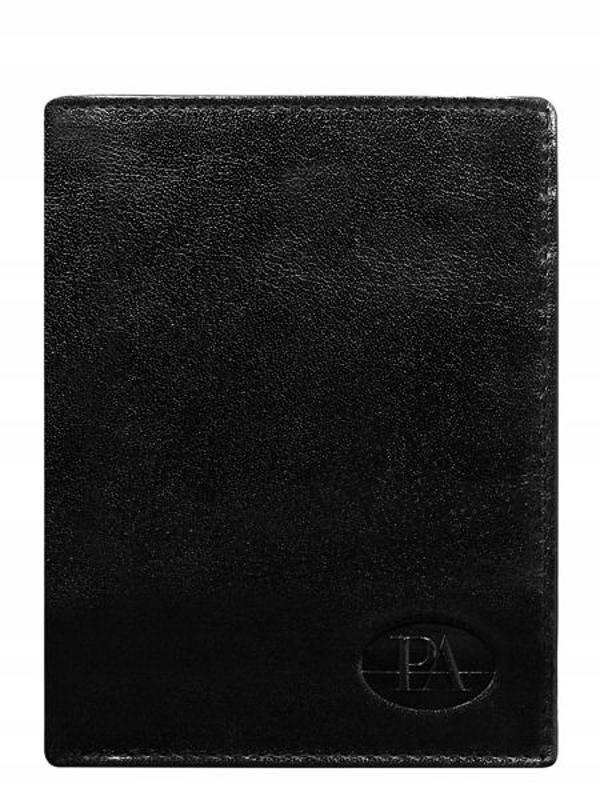 Мужской кошелек кожаный черный 379