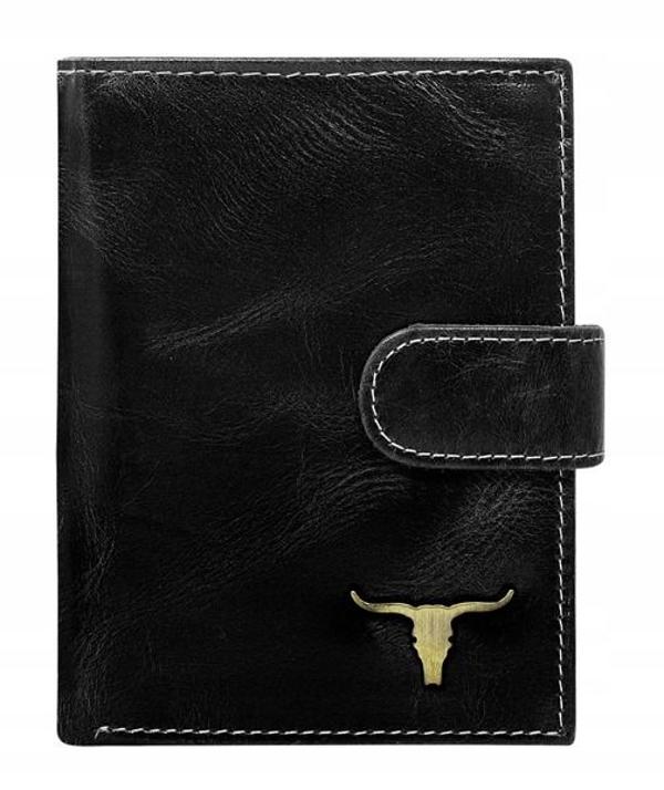 Мужской кошелек кожаный черный 50