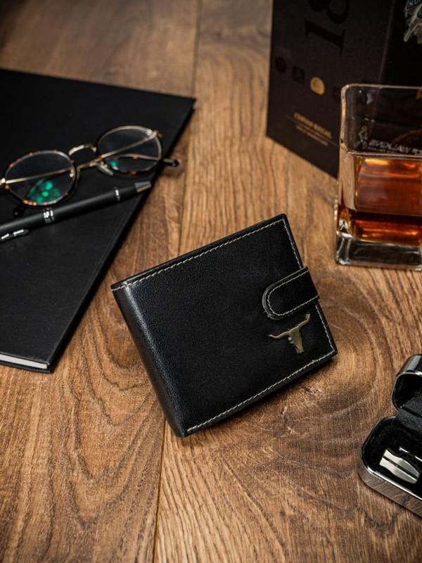 Мужской кошелек кожаный черный 57