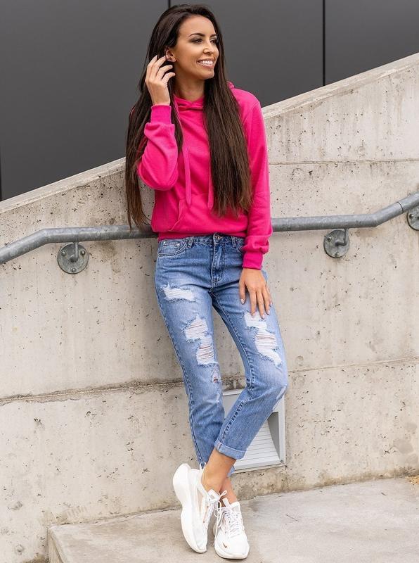 Синие женские джинсы бойфренды Bolf DM9601