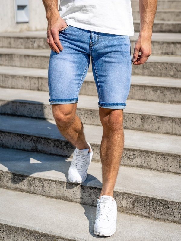 Темно-синие джинсовые мужские шорты Bolf KG3763