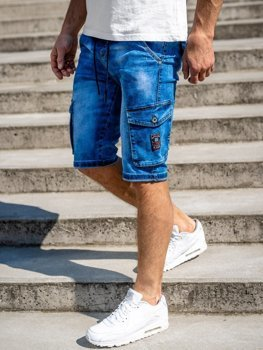 Темно-синие мужские джинсовые шорты карго Bolf KR1076-2