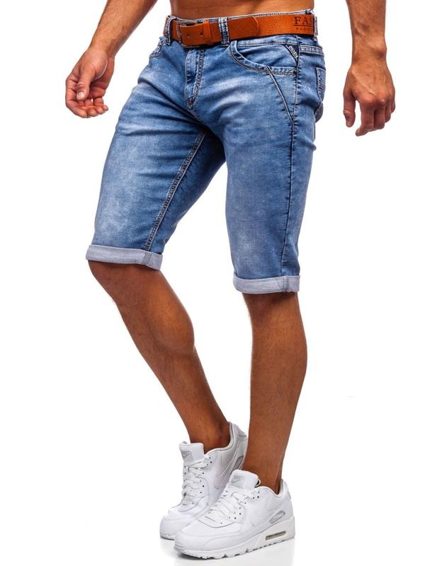 Темно-синие мужские джинсовые шорты с поясом Bolf KR1211