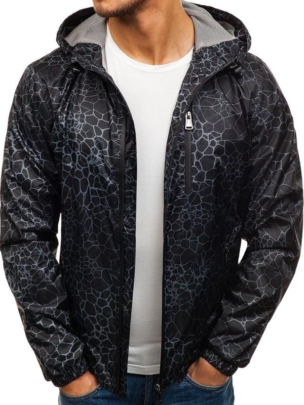 Черная мужская демисезонная куртка Bolf 8005