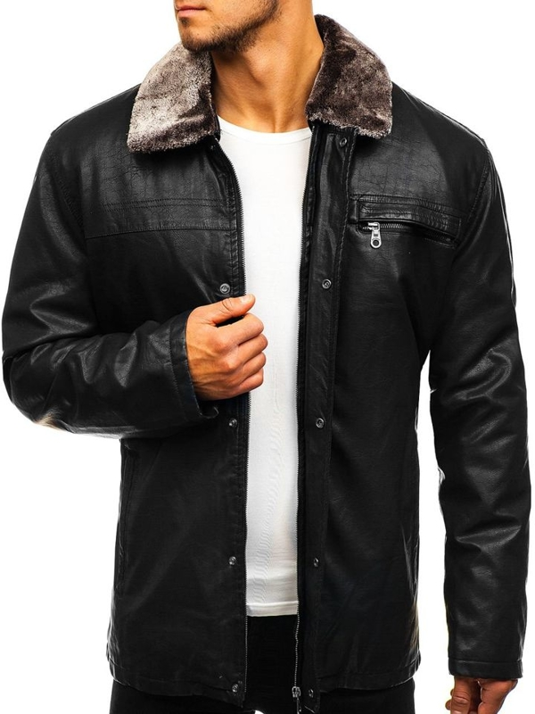 Черная мужская кожаная куртка Bolf 293