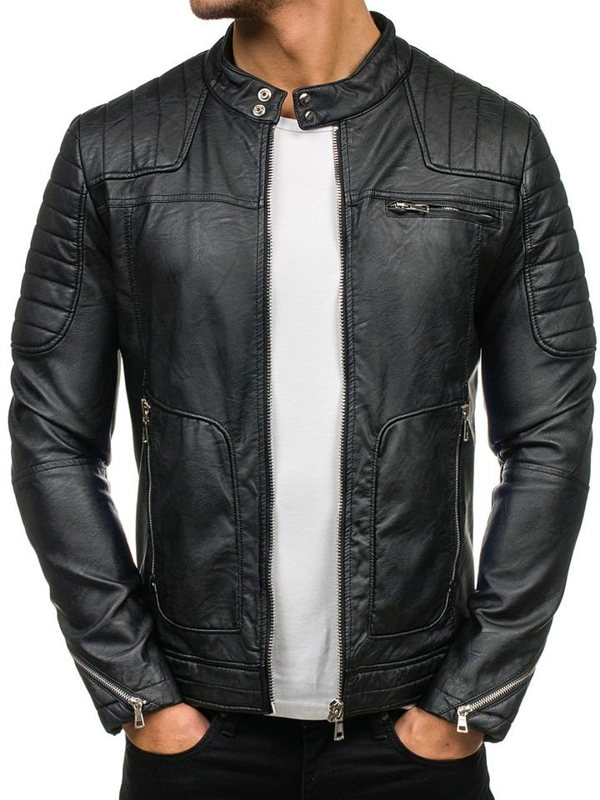 Черная мужская кожаная куртка Bolf 9137