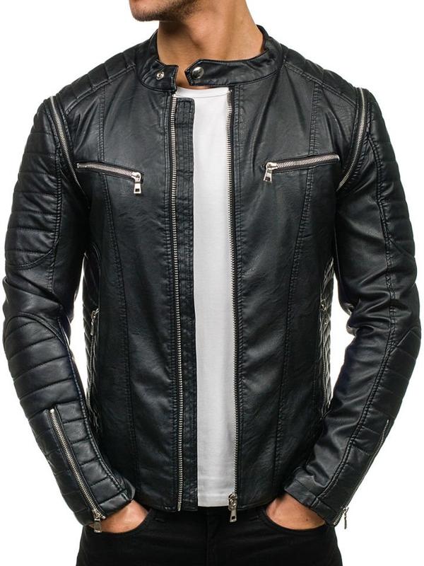 Черная мужская кожаная куртка Bolf 9188
