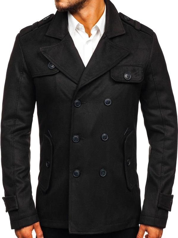 Черное мужское зимнее пальто Bolf 3123