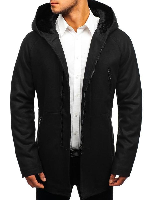 Черное мужское зимнее пальто Bolf 3128