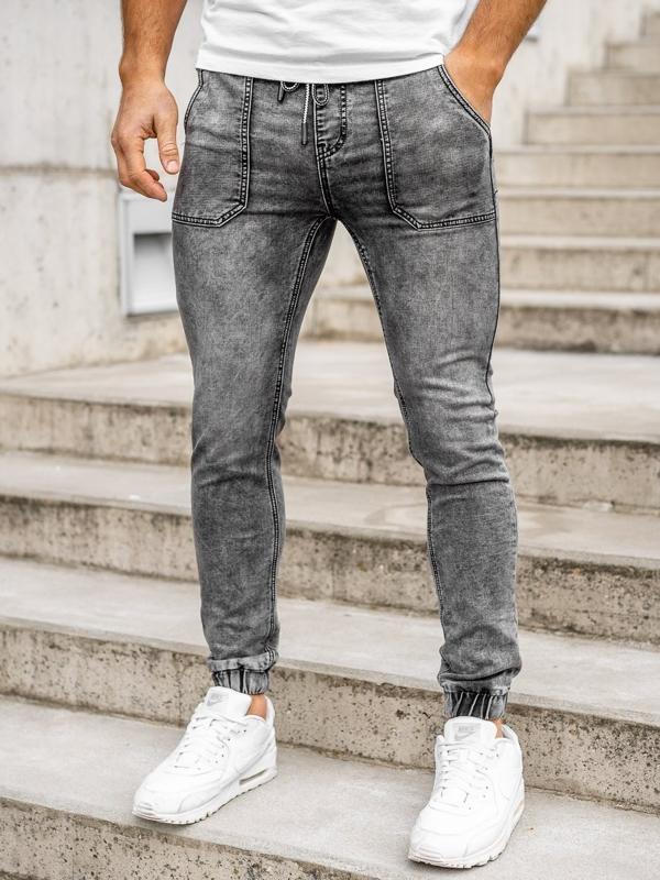 Черные мужские джинсовые джоггеры Bolf KA1860-1