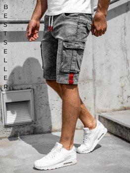 Черные мужские джинсовые шорты карго Bolf HY657