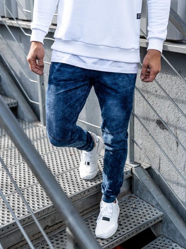 Чоловічі джинсові штани джоггери темно-сині Bolf KK1027