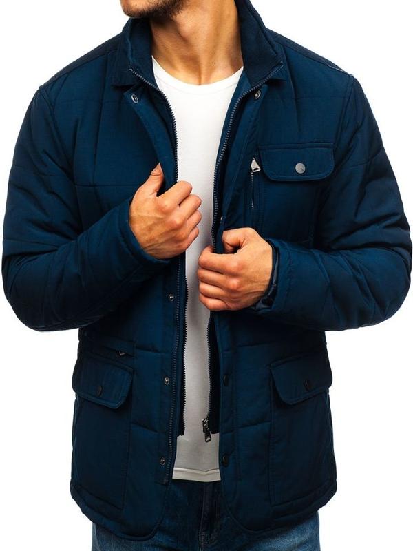 Элегантная мужская демисезонная куртка темно-синяя Bolf 1796