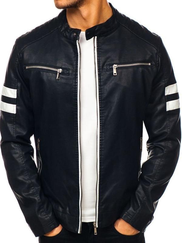 мужская кожана куртка черная Bolf 1075-A