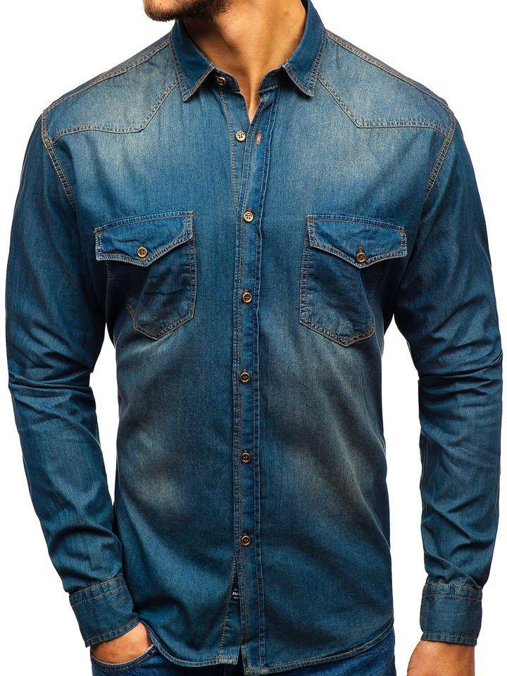 9f723b54400 Мужская джинсовая рубашка с длинным рукавом темно-сине-серая Bolf 1331 ...