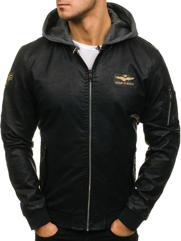 921f1727276 Мужская кожаная куртка бомберка черная Bolf 5161
