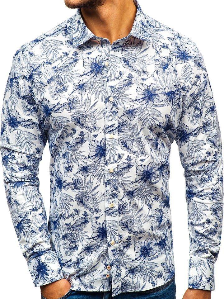 27bee78f8df Мужская рубашка с узором с длинным рукавом бело-темно-синяя 301G66