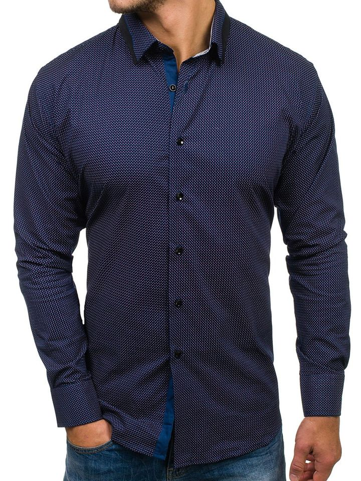 213a5aa73cf Мужская рубашка с узором с длинным рукавом темно-синяя Bolf TS102 ...