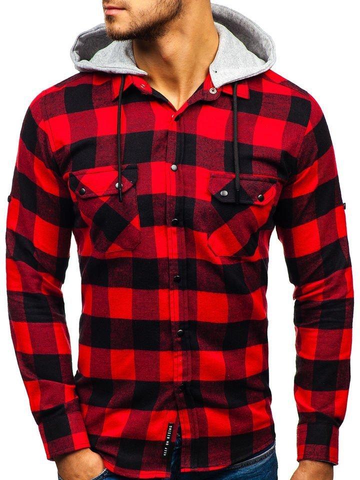 4ba9caeaff7 Мужская фланелевая рубашка с длинным рукавом черно-красная Bolf 1031 ...