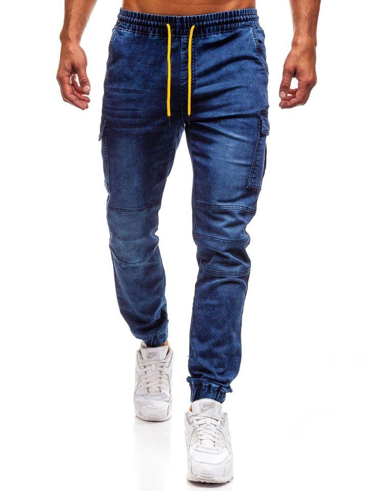 a238687d Мужские джинсовые брюки джоггеры темно-синие Bolf Y263
