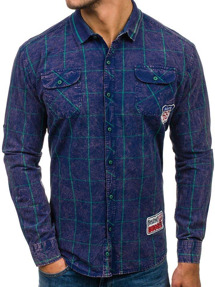 79d2cb686e6 Темно-сине-зеленая мужская рубашка в клетку с длинным рукавом Bolf 2506 ...