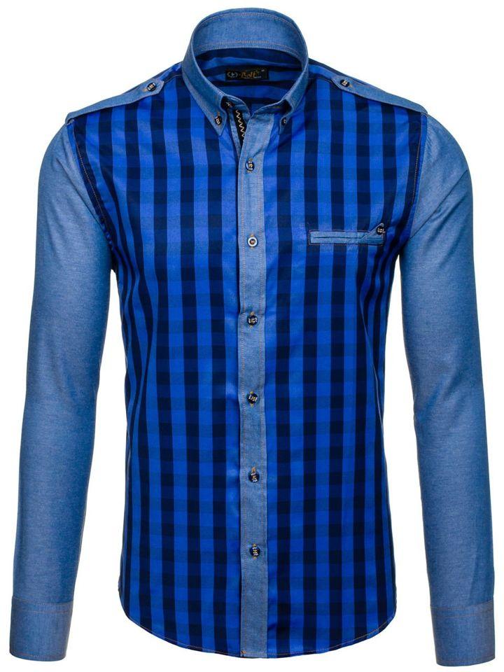 51b04daa88a Темно-синяя мужская рубашка в клетку с длинным рукавом Bolf 7704 ...