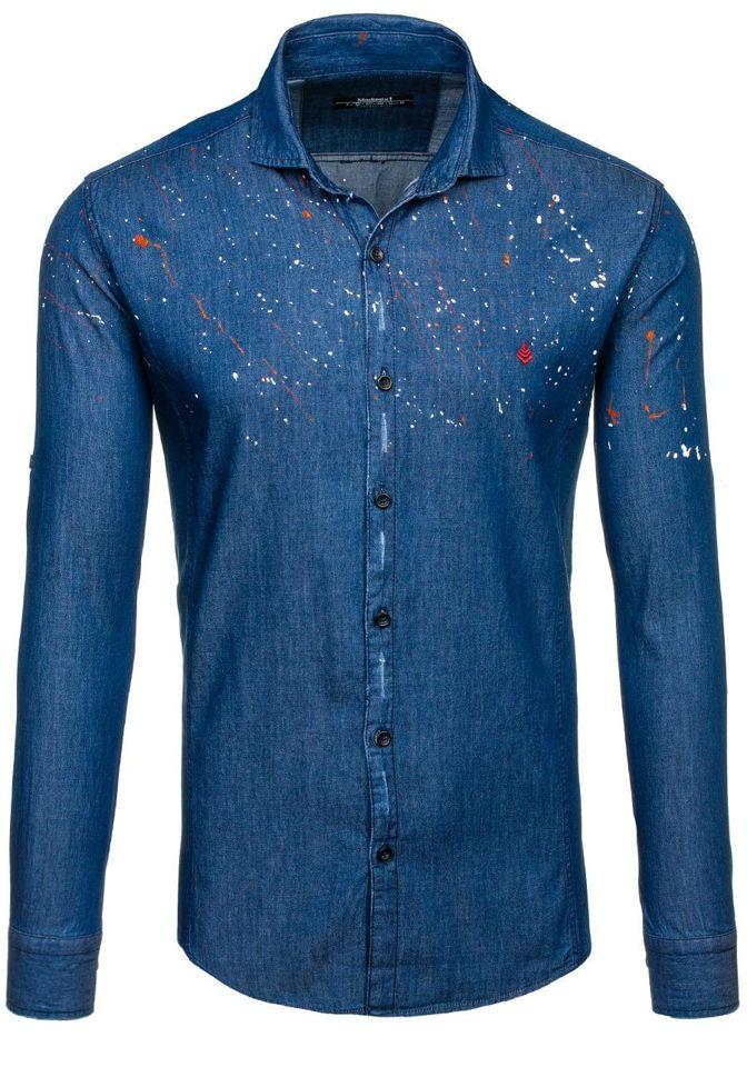 9a3dc7080095876 Темно-синяя рубашка мужская в узоры с длинным рукавом Bolf 1589 ...