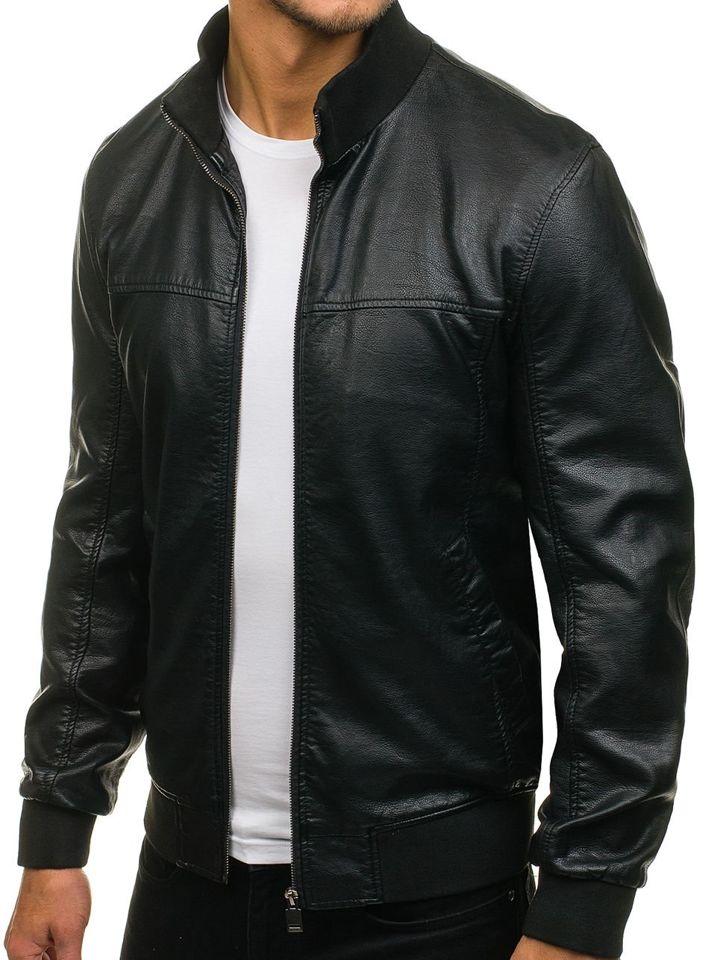 73a10bc0e01 Черная мужская кожаная куртка Bolf 8006