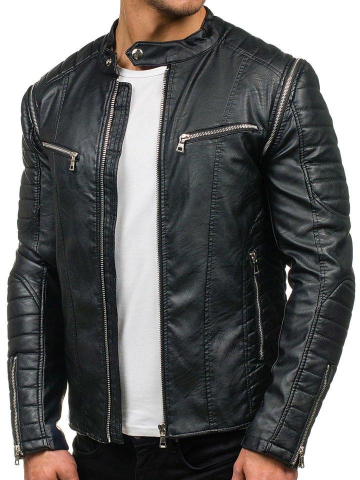 7979b5f4b9a Черная мужская кожаная куртка Bolf 9188